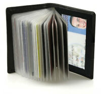 Black Credit Card Window ID Genuine Leather Holder Wallet Clear Sleeves Men Lady