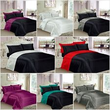SATIN BEDDING SETS + DUVET COVERS + FITTED SHEETS + PAIR PILLOWCASES
