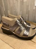 Clarks 8.5M Leather Lightweight Ankle Strap Sandals Lexi Owin Pewter