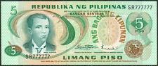 5 Pesos ABL Marcos - Licaros SOLID NO. SF777777 Philippine Banknote