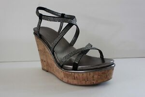 Nine West Womens Black Satin Rhinestone Platform Wedge High Heel Shoe Size 9.5 M
