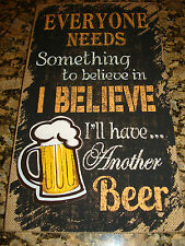 Burlap Plaque Wall Art BELIEVE I'll HAVE ANOTHER BEER!! 3D Sign 15x9.5 BAR New