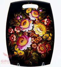 Wooden cheese cutting board Russian folk style painting flower Zhostovo handmade