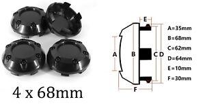 Satz 4x68mm Chrom ABS für Alufelgen Nabendeckel Felgendeckel Nabenkappen Schwarz