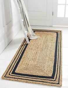 Rug Runner 100% Natural Jute Handmade Rug Reversible Living Area Home Carpet Rug