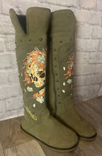 Ed Hardy Tall Suede Green Boots Faux Fur Lined Skull Embellished Women's Size 5