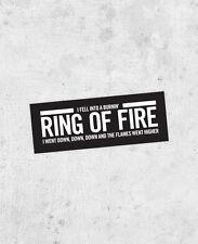 "Johnny Cash ""Ring of Fire"" Lyric Bumper sticker man in black Folsom Prison Blues"