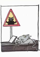 Postcard Tomi Ungerer Illustration from Cats as Cats Can 1997 Humor MINT Unused