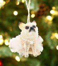 Pottery Barn Buri Bottle Brush Bulldog Pug Dog Ballerina Pearls Ornament