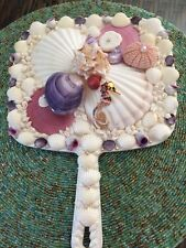 By The Sea Beach Chic Pink Purple Sea Horse SEASHELL STARFISH HAND MIRROR