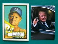 DONALD TRUMP 1952 Topps Baseball Card Mantle Rookie + Glock Gun Bonus Sticker!!!