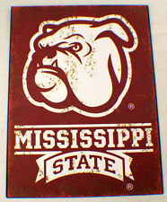 Mississippi State Bulldogs Bull Dog Distressed Metal Sign Wall Plaque New #84192