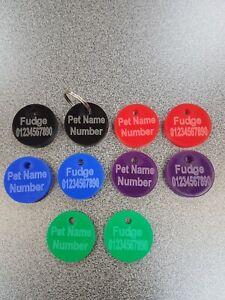 Peronalised Pet Tags DOG CAT ID Disc ID Tag Name Identity Free P&P