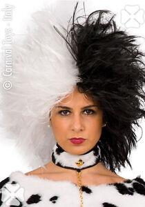 Perruque noire et blanche style Cruella 101 dalmatien deguisement carnaval
