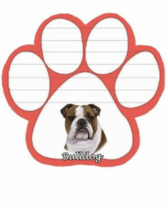 Bulldog Dog Paw Magnetic Note Pad. Dog Note Pads. Shipping Included