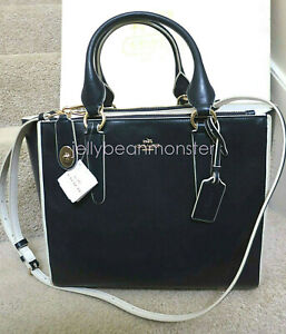COACH 35331 CROSBY COLORBLOCK LEATHER CARRYALL BAG Crossbody Navy Chalk New Tag
