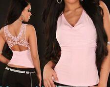 Sexy señora cascada top espalda mariposa bordado lurex XS/s rosa de plata