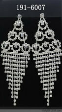 New Hot Style One Pairs Bridal Drag Queen Clear Shiny Rhinestone Silver Earrings
