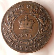 1873 NEWFOUNDLAND (CANADA) 1/2 PENNY - Scarce Excellent - FREE SHIPPING - HV32