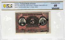 Greece 1922 5 Drachmai PCGS Banknote Certified XF 40 Black NEON ABNC 64a Rare