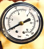 "Marshalltown Pressure Gauge 2"" 1/4"" Inch 0-15 PSI. Has number 88880 on dial"