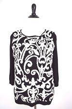CATHERINE MALANDRINO Design Nation Black White Fleur De Lis Knit SWEATER L 12 14