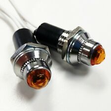 "2 Amber Mini Pilot  Lights - Incandescent, Fits 3/8"" Dash Hole, Sold As Pair"