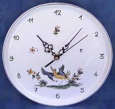 Horloge pendule ronde murale Assiette 25cm en FAIENCE de MOUSTIERS peint main
