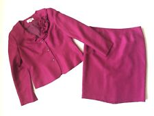 Le Suit 10 12 Berry Pink Shimmer Skirt Suit Ruffle Collar Rosette Modest