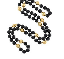 "Onyx Necklace 28"" w/ 14kt Gold Filled Clasp & Beads --  8mm -- 5 to 1 Ratio"