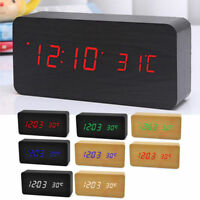 Modern Wooden Wood USB/AAA Digital LED Alarm Clock Calendar Thermometer Gifts UP