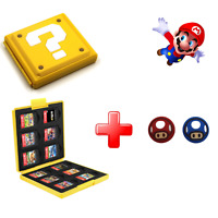 Nintendo Switch Game Card Case Holder Super Mario Yellow Box Protector & Grips
