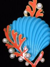 TEAL ORANGE PEARL CORAL COCKLE CLAM SCALLOP SEASHELL SHELL PIN BROOCH JEWELRY