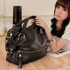 NEW Korean Big Capacity Black Womens Shoulder Handbag PU Leather Bag Hobo Retro