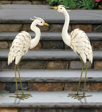 Regal Art Snowy Egret Pair Metal Garden Statues Bird Yard Sculpture Heron Crane