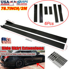 "78.7"" Gloss Black Universal Car Side Skirt Extension Splitter Diffuser Panel Lip"