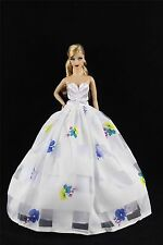 White Fashion Royalty Party Princess Dress Clothes/Gown For Barbie Doll S240