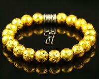 Lava galvanisiert Armband Bracelet Perlenarmband Buddha gold 8mm