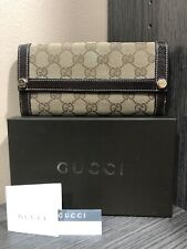 Gucci Wallet GG Monogram Canvas Leather Brown Italy With box