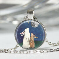Vintage Rabbit Cabochon Tibetan silver Glass Chain Pendant Necklace