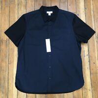 Calvin Klein 2 Tone Black & Blue Button Up Short Sleeve Shirt Men's Size XL NWT