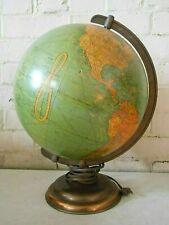 "Vintage George F Cram Co. ~ 10 1/2"" Terrestrial Illuminated Glass Globe w/Bronze"