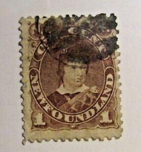 NEWFOUNDLAND Sc# 42 Θ used 1¢ Victorian postage stamp, fine +