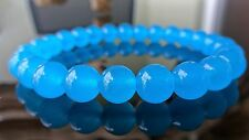 """Genuine South African Blue Topaz Bead Bracelet for Men (On Stretch) 8mm AAA - 8"""""""