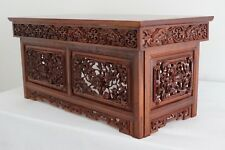 Table Oriental Folding Coffee Lamp Bed Heavily Carved Vintage - We Can Deliver