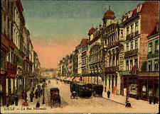 Lille Frankreich Color AK ~1914/18 La rue nationale Straßenpartie Kutsche Tram