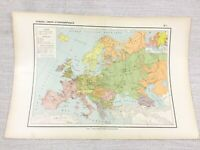 1888 Antique Map of Europe Population Ethnographic European FRENCH 19th Century