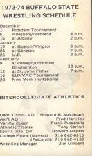 1973-74 Buffalo State Wrestling Schedule jhxb