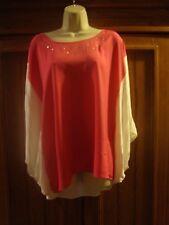 joan boyce xl/1x pink white semi sheer blouse
