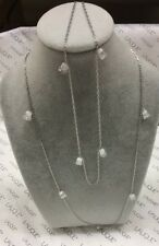 """LALIQUE 12 """"MUGUET"""" Lily of the Valley Crystal 54"""" Sautoir Sterling Necklace NIB"""